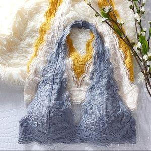 Lite Gray Lace Halter Bralette